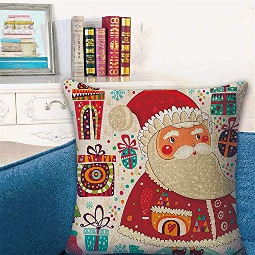 45 * 45cm + funda de almohada almohada almohada de Navidad Core 2019 Inicio Lino Almohada Casa Rural Respaldo Oficina Almohada Almohada Descanso for comer ( Color : SD001-6 , Size : 45*45cm\\set )