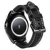 VancTec für Gear S2 Classic Armband, Echt Leder Uhrenarmband 20 mm Samsung R732 Uhr Band Strap Erstatzband mit Schwarz Schließe für Samsung Galaxy Gear S2 Classic, Schwarz
