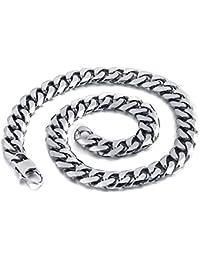 mendino joyas para hombre collar de acero inoxidable Enlace Cadena Color Plata Ancho 9.011.013.0mm con 1x bolsa de terciopelo