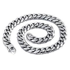 Idea Regalo - MENDINO Jewellery-Collana da uomo in acciaio INOX con catena, larghezza: 11, colore: argento, 9 x 13 mm con 1 sacchetto di velluto, cod. JNE0072SI-4 UK