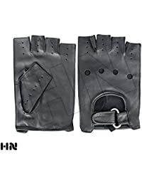 Mens Half Finger Driving Gloves Vintage Button Style Soft Lambskin Leather Dress Fashion