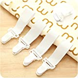 Ouken 4pcs Blatt Greifer Riemen Verbindungselemente elastischen Halter Clips Greifer Tagesdecke Cover Hosenträger