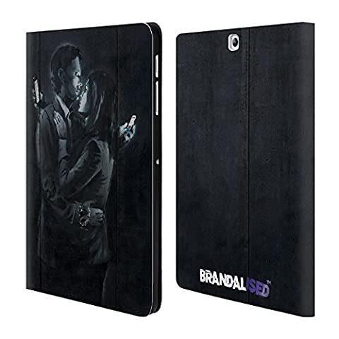 Officiel Brandalised Amants De Téléphone Portable Banksy Étiquettes De La Rue D'art Étui Coque De Livre En Cuir Pour Samsung Galaxy Tab S2 9.7
