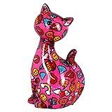 Pomme Pidou Spardose XL Cat Caramel | Originale Keramische XL Sitzende Katze Spardose | Rosa mit Emoji | Exklusives Geschenk mit Gratis Geschenkbox | Liebevoll Handgemacht