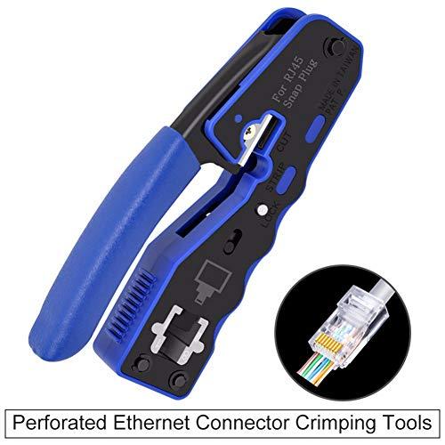 GKPLY 8P8C RJ45-Kabelcrimper, Ethernet-Perforated-Steckverbinder Crimp-Werkzeug, Multifunktions-Netzwerk-Tool, Kabelklemme -