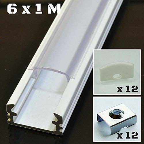 Lote de 6 x 1 metro perfil de aluminio P2 blanco para tiras LED con cubierta transparente, tapas y grapas de montaje incluidas