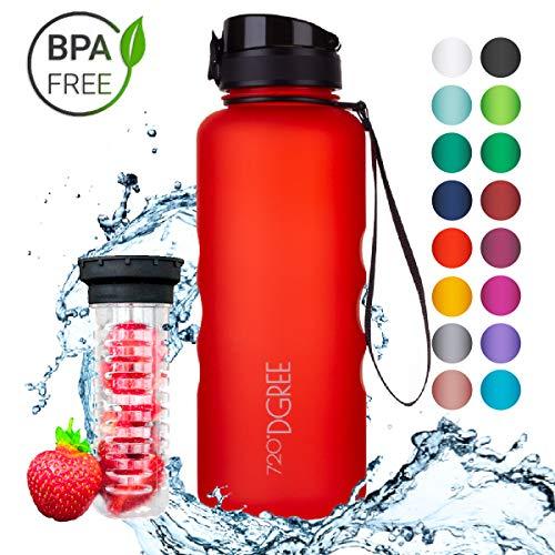 720°DGREE Trinkflasche uberBottle - 1,5 Liter, 1500ml, Rot, Orange | Neuartige Tritan Wasser-Flasche | Water Bottle BPA Frei | Ideale Sportflasche für Kinder, Fitness, Fahrrad, Sport, Fussball -