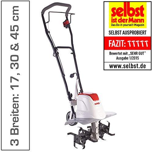 IKRA Elektro Bodenhacke Kultivator FEM 1500 flexible Arbeitsbreite 17-45cm Arbeitstiefe bis 23cm...