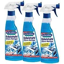 3x Dr. Beckmann Edelstahl Glanz-Reiniger 250 ml Sprühflasche - Ideal auch für Chrom