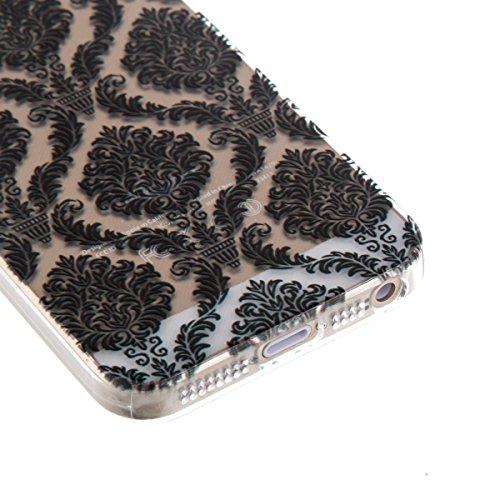 Ekakashop Transparent Hülle für Apple iPhone 5/5s, Modisch Durchsichtig Hüllen mit Schwarz Musik Muster Weiche TPU Soft Silikon Handyhülle Schutzhülle Rückseite Etui für iPhone 5s, Ultradünn Back Cove Palast-Blumen