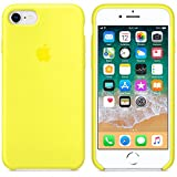 AIWE Newest Coque iPhone X/10 Coque Silicone Liquide Ultra-Mince Anti-Rayure, Housse Protection Silicone Anti-Patinage Gel Case iPhone X/10 (iPhone 7/8, Jaune Flashy)