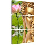 decomonkey | Bilder Budda 60x120 cm | 3 Teilig | Leinwandbilder | Bild auf Leinwand | Vlies | Wandbild | Kunstdruck | Wanddeko | Wand | Wohnzimmer | Wanddekoration | Deko | Buddha Buddah Asien SPA Fengshui Lotus