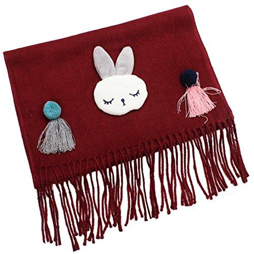 Tokkids - Sciarpe del cotone invernale per bambini e bambine (Vino Rosso)