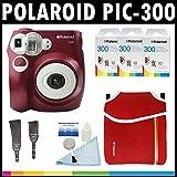 Polaroid Fotocamera analogica con pellicola istantanea PIC-300 (Rosso) con (3) confezioni di pellicola istantanea Polaroid 300 da 10 pellicole ciascuna + Custodia Polaroid in Neoprene + Kit pulizia Polaroid + Tracolla e cinghia da polso