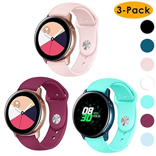 CAVN Armband kompatibel mit Samsung Galaxy Watch 42mm /Active/Garmin Vivoactive 3 Armband [3-STÜCK], 20mm Weiches Silikon Sport Armband Damen Herren Ersatz für Garmin Vivoactive 3/Forerunner 645
