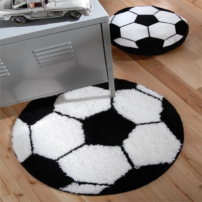 Catherine Lansfield Kids It's A Goal Rug, Black/White, 70 x 70 Cm produced by Catherine Lansfield - quick delivery from UK.