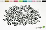 100 Dekosteine HERZEN 1,2 cm ( grau - silber 077 ) // Streudeko Tischdeko Kunststoffherzen Steine PVC Acryl 12mm
