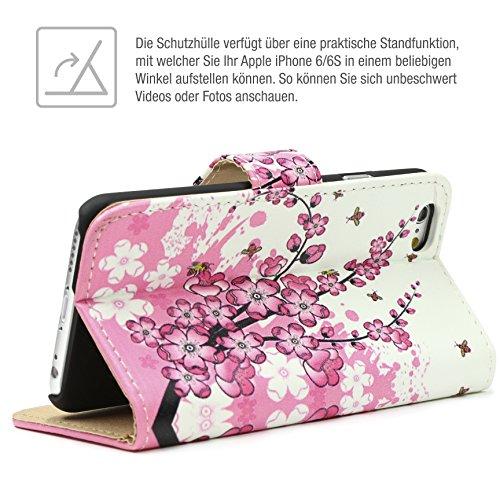 URCOVER Floreal Cover Wallet | Apple iPhone 6 Plus / 6s Plus | Housse Portefeuille Motif Fleurs Dessins en Blanc / Fuchsia | Coque Pochette Élegant Étui Magnetique Stand Cartes Femme Magique Blanc