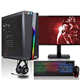 dercomputerladen Gaming Komplett PC Set Bolt RGB AMD Ryzen 3-2200G 4x3.5 GHz - 240GB SSD & 1TB HDD, 16GB DDR4, Vega 8, mit 24 Zoll TFT, Maus, Tastatur, Headset, WLAN, Windows 10 Pro