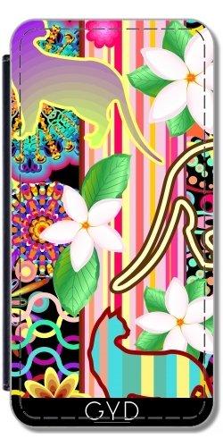 Leder Flip Case Tasche Hülle für Apple iPhone 5/5S - Mandalas, Katzen Und Blumen Fanta by BluedarkArt Lederoptik