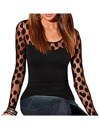 La Cabina Femme Sexy Tops Haut T-Shirt à Manches Longues Semi-Transparent en Dentelle
