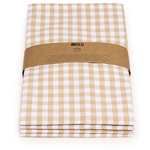 FILU Servietten (4 Stück, Beige/Weiß) Stoffserviette aus 100% Baumwolle kariert im skandinavischen Landhausstil (Servietten Beige)