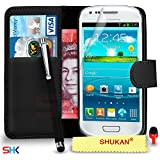 Samsung Galaxy S3 Mini Premium Leather Black Wallet Flip Case Cover Pouch + Big Touch Stylus Pen + RED 2 IN 1 Dust Stopper + Screen Protector & Polishing Cloth SVL2 BY SHUKAN�, (WALLET BLACK)