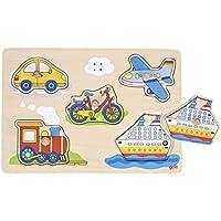 Goki 57519 - Puzle Sonoro Medios De Transporte (5 Pzas) (Madera) (+1) - Peluches y Puzzles precios baratos