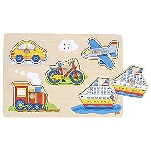 GOKI-57519 Puzzles de maderaPuzzles de maderaGOKIPuzzle de Sonido, Medios de Transporte, Multicolor (57519)