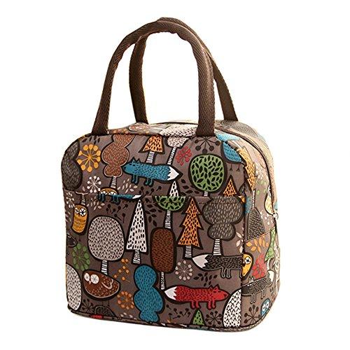 ZahuihuiM Isolierte Lunch-Bag Lunch Tote wiederverwendbare Picknick-Tasche Soft-Thermo-Kühler Tote Mehrzweck-Lebensmittel-Container Kleine Handtasche Lunchtasche (32 * 22 * 10cm, Kaffee)