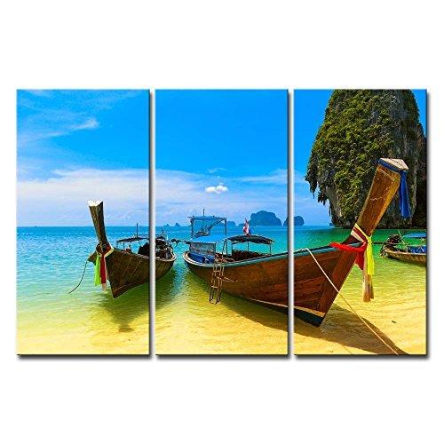 wall art print auf Leinwand Bild Strand blau Wasser und Sky Thailand Nature Schöne Insel Holz Boot 3Moderne Giclée-gespannt und gerahmt-Kunstwerken die Seascape Bilder Foto Prints auf Leinwand