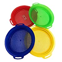 hinffinity Children Beach Toys Sand Sifter Sieves Toy Set for Sand Beach 4 Pack/Set Red Blue Yellow Green