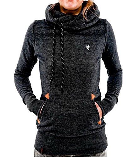 Evedaily Fashion Damen Kapuzenpullover Hoodie Sweatshirts Kapuzen Langarm (L, Schwarz)