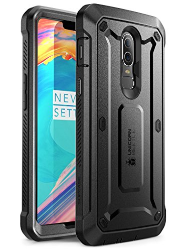 SUPCASE UB Pro Full-Body Rugged Drop-Proof Cover with Built-in Screen Protector and Rotating Belt Clip Holster for OnePlus 6 case 2018 (Black)