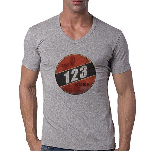 Beer Drink Oktoberfest Glass 123 Herren V-Neck T-Shirt Grau