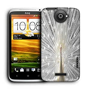 Snoogg White Peacock Printed Protective Phone Back Case Cover For HTC One X