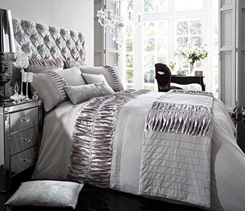 Luxus Bettbezug mit Kissenbezug neue Bettwäsche (Alina Silber, Konig) Silber-bettwäsche-könig