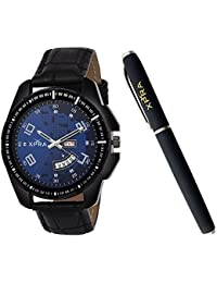 XPRA Combo of Analogue Day and Date Watch & Metal Pen or Men (WCH-PN-15)