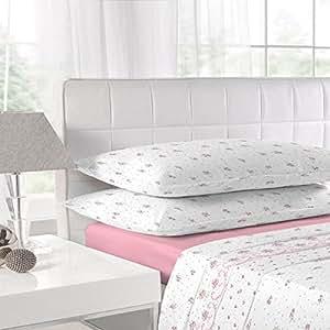 biberbettw sche set laken und kissenbez ge mit spitze pink f r 135 x 190cm. Black Bedroom Furniture Sets. Home Design Ideas