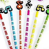 Punk – 6 süße, bunte Bleistifte mit musikalischen Radiergummis