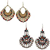 YouBella Fashion Jewellery Stylish Afghani Tribal Gold Plated Multicolour Earrings for Women (Pack of 2)
