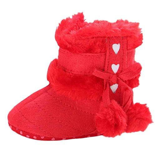 LongraKleinkind Baby Mädchen Warm Halten Schneestiefel Weiche Sohlen Krippe Schuhe Kleinkind-Stiefel Red