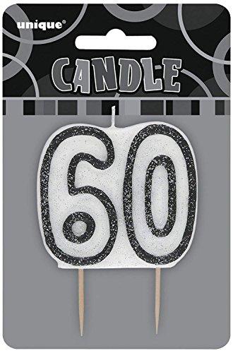 Unique Party- Vela de 60 cumpleaños, Color negro brillante (34426)
