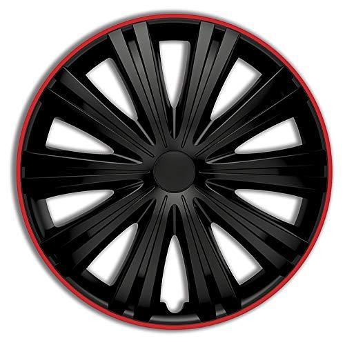 Preisvergleich Produktbild TSS Handel Radkappen Radzierblenden 4 Stück 14 Zoll Schwarz / rot