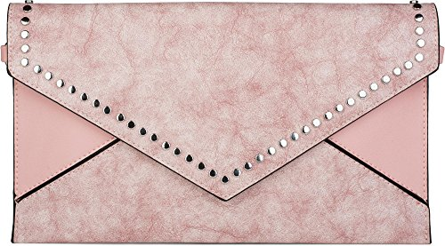styleBREAKER clutch envelope con design a busta e borchie, stile vintage washed a 2 tonalità, borsa da sera, donna 02012172, colore:Turchese Rosa antico