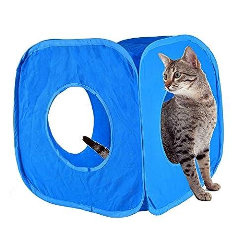 Pop Up Cube Tunnel de jeu pour chat Fun solide Cadre en nylon Matériau Boîte Chaton Petits Animaux SE replie sur mesure Labyrinthe d'intérieur Home