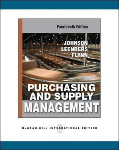 Purchasing and Supply Management by P. Fraser Johnson (2010-10-01)