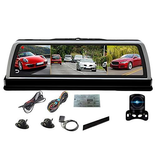TOOGOO 10 Zoll Auto Mittel Konsole Spiegel Dvr Dashcam 4G 4 Kanal Adas Android GPS WiFi Fhd 1080P Hinteres Objektiv Video Recorder