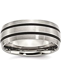 ICE CARATS Titanium Enameled 8mm Wedding Ring Band Fashion Jewelry Gift Set For Women Heart