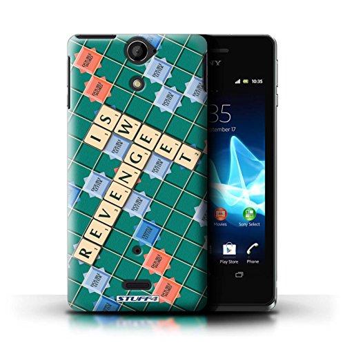 Kobalt® Imprimé Etui / Coque pour Sony Xperia V/LT25i / Ennemis Proximité conception / Série Mots de Scrabble Douce Vengeance